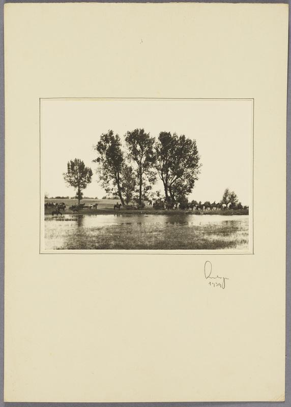 Gefangene polnische Kavalleristen an einem See, recto
