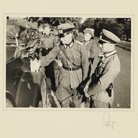 Ein Wehrmachtsoffizier streichelt eine kleine Katze
